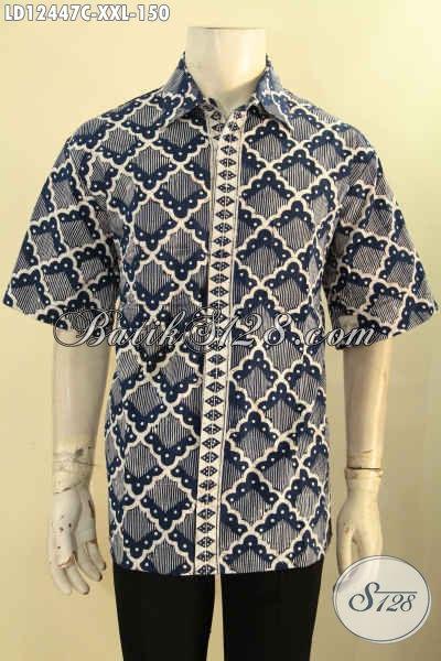 Kemeja Batik Big Size Lengan Pendek Khas Solo Jawa Tengah, Busana Batik Istimewa Yang Membuat Penampilan Lebih Gagah Mempesona [LD12447C-XXL]