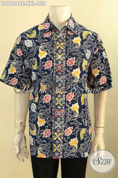 Baju Batik Pria Modern Big Size, Kemeja Lengan Pendek Keren Motif Kekinian Dengan Paduan Warna Modern Exclusive Untuk Yang Berbadan Gemuk [LD12448C-XXL]