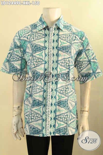 Produk Baju Batik Pria Lengan Pendek Big Size Motif Terbaru, Busana Batik Warna Cerah Spesial Untuk Pria Gemuk Bisa Untuk Santai Maupun Resmi [LD12449C-XXL]