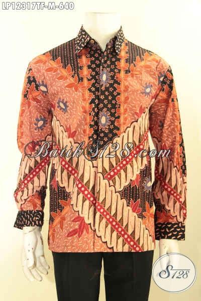 Jual Kemeja Batik Premium Khas Jawa Tengah Tulis Asli, Busana Batik Pria Muda Sukses Lengan Panjang Motif Elegan Dan Pakai Furing, Istimewa Untuk Acara Formal Maupun Ke Kondangan [LP12317TF-M]
