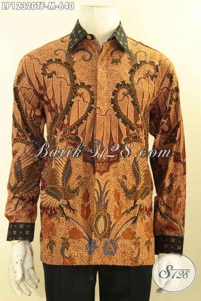 Jual Kemeja Batik Mewah Khas Jawa Tengah, Busana Batik Premium Lengan Panjang Pakai Furing, Pria Tampil Gagah Dan Istimewa [LP12320TF-M]