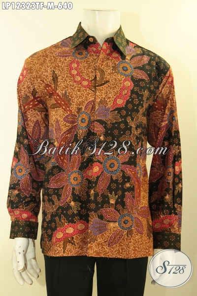 Koleksi Terbaru Kemeja Batik Formal Lengan Panjang Mewah Khas Pejabat, Baju Batik Full Furing Motif Elegan Jenis Tulis Lasem Hanya 600 Ribuan Saja [LP12323TF-M]