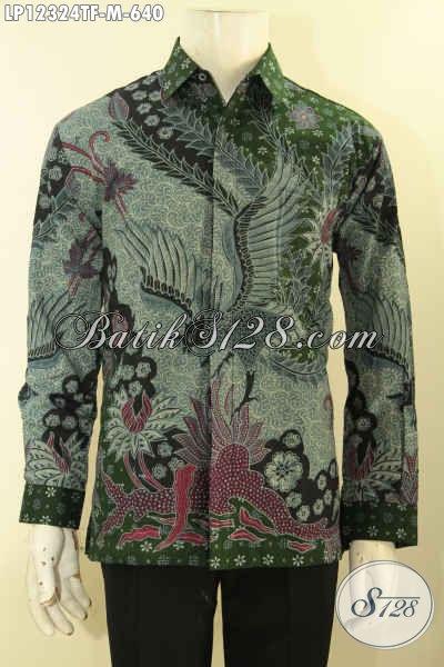Kemeja Batik Formal Desain Dan Motif Mewah Khas Pejabat, Baju Batik Lengan Panjang Premium Jenis Tulis Lasem Pakai Lapisan Furing, Penampilan Lebih Gagah Menawan [LP12324TF-M]