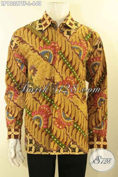Kemeja Batik Kerja Khas Eksekutif Lengan Panjang Full Furing, Baju Batik Istimewa Jenis Tulis Lasem Bikin Penampilan Lebih Berwibawa [LP12327TF-L]