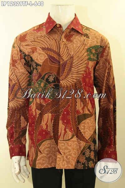 Kemeja Batik Pria Lengan Panjang Mewah Motif Elegan Asli Buatan Solo, Baju Batik Kerja Dan Kondangan Pakai Furing Tampil Mewah Berkelas [LP12329TF-L]