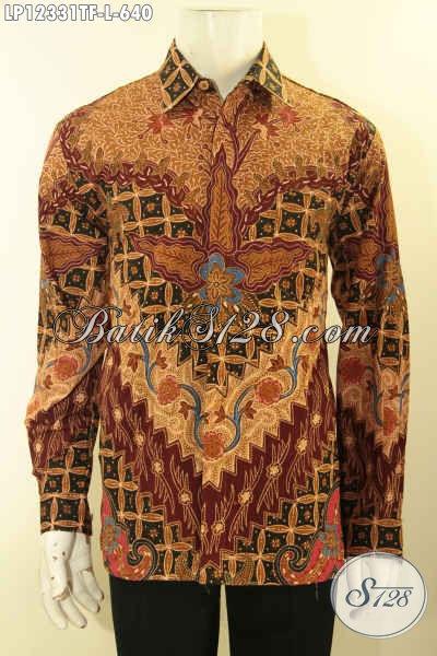 Jual Baju Batik Premium Kesukaan Pejabat Dan Eksekutif, Berbahan Halus Model Lengan Panjang Motif Terbaru Jenis Tulis Lasem Di Lengkapi Lapisan Furing, Tampil Makin Berkelas [LP12331TF-L]