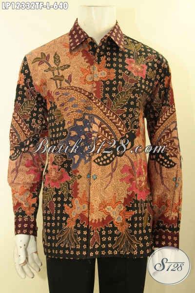 Koleksi Terbaru Busana Batik Premium Khas Solo, Produk Baju Batik Mewah Jenis Tulis Lasem Model Lengan Panjang Pakai Furing, Pilihan Terbaik Untuk Kerja Dan Acara Formal [LP12332TF-L]