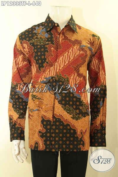 Produk Baju Batik Premium Untuk Pria Muda Maupun Dewasa, Pakaian Batik Lengan Panjang Full Furing Nan Mewah Motif Elegan Proses Tulis Lasem Hanya 640K [LP12333TF-L]