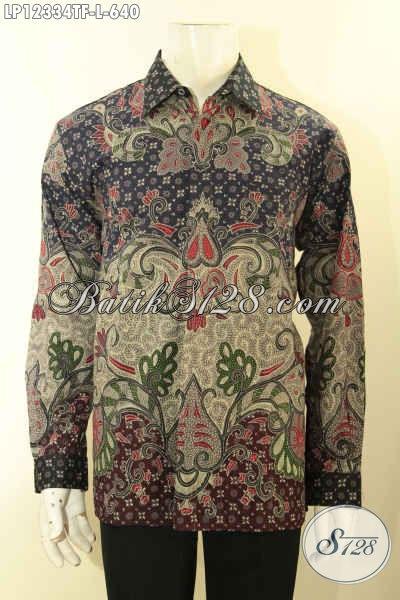 Kemeja Batik Premium Lengan Panjang Untuk Kerja Dan Rapat Desain Mewah Khas Pejabat Daleman Full Furing, Baju Batik Tulis Lasem Istimewa Harga Terjangkau [LP12334TF-L]