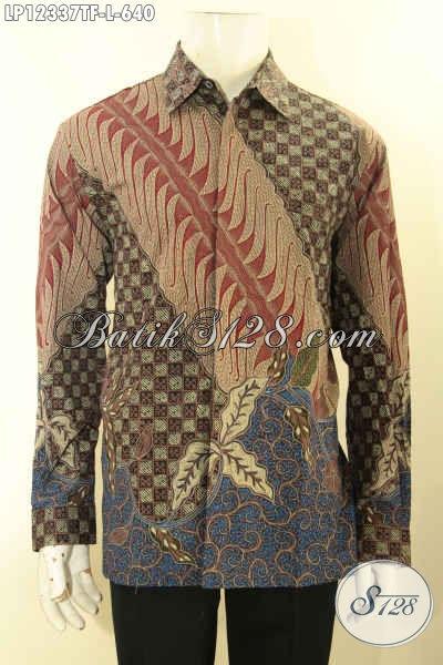 Motif Baju Batik Pria Terbaru Jenis Tulis Lasem Nan Mewah, Kemeja Batik Premium Lengan Panjang Full Furing Yang Menunjang Penampilan Gagah Berwibawa [LP12337TF-L]