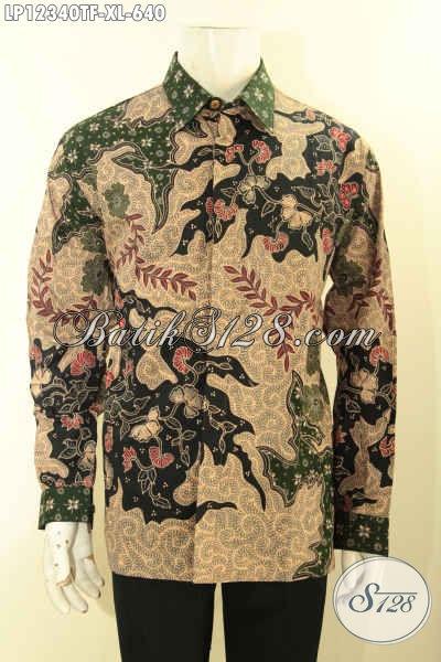 Busana Batik Premium Untuk Lelaki Dewasa Model Lengan Panjang Istimewa Pakai Furing, Kemeja Batik Formal Motif Bagus Jenis Tulis Lasem Hanya 600 Ribuan Saja [LP12340TF-XL]