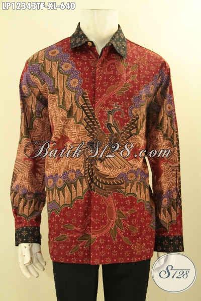 Kemeja Batik Mewah Halus Lengan Panjang Motif Elegan Tren Masa Kini Tulis Lasem, Pakaian Batik Formal Pria Dewasa Mewah Pakai Furing Tampil Gagah Bak Pejabat [LP12343TF-XL]