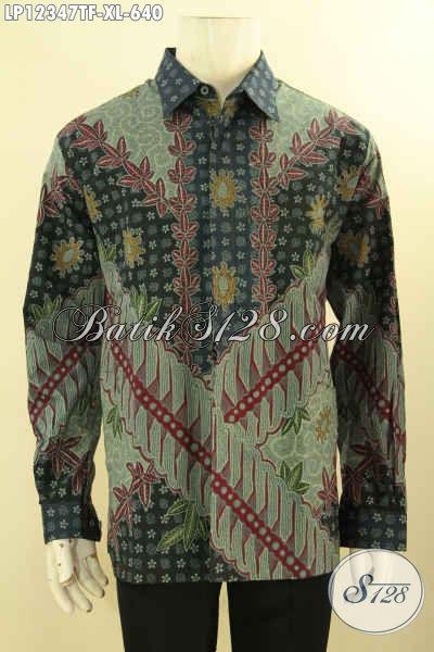 Jual Kemeja Batik Premium Lengan Panjang Khas Jawa Tengah Motif Elegan Proses Tulis Lasem, Pakaian Batik Premium Untuk Kondangan Maupun Acara Resmi [LP12347TF-XL]