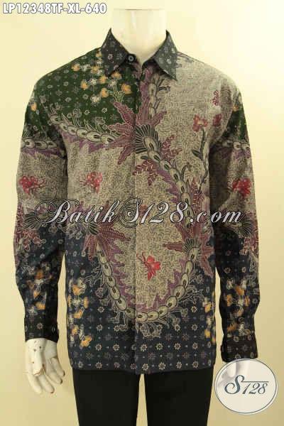 Jual Online Baju Batik Kerja Lengan Panjang Premium Motif Terbaru Jenis Tulis Lasem, Pakaian Batik Kemeja Istimewa Di Lengkapi Furing Tampil Gagah Dan Mewah [LP12348TF-XL]
