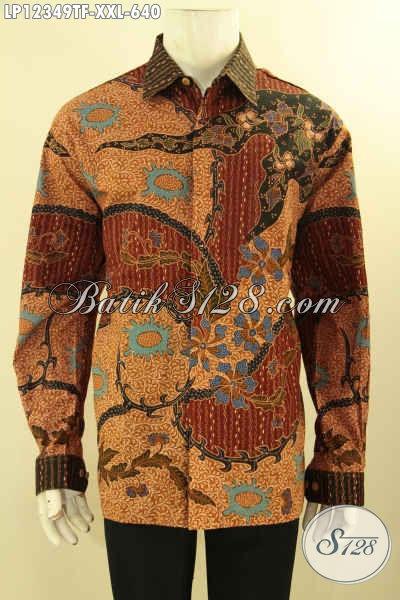 Koleksi Terbaru Baju Batik Big Size Lengan Panjang Motif Elegan Proses Tulis Lasem, Pakaian Batik Istimewa Untuk Pria Gemuk Daleman Full Furing Hanya 600 Ribuan [LP12349TF-XXL]