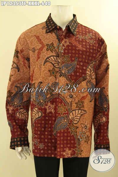Baju Batik Pria Gemuk, Pakaian Batik Mewah Lengan Panjang Istimewa Pakai Furing Motif Terbaru Jenis Tulis Lasem, Pas Banget Untuk Kondangan Maupun Rapat [LP12353TF-XXXL]