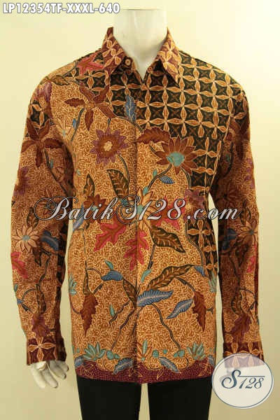 Buana Batik Premium Jawa Tengah Jenis Tulis Lasem, Pakaian Batik Istimewa Model Lengan Panjang Motif Elegan Pakai Furing, Pria Gemuk Tampil Gagah Dan Percaya Diri [LP12354TF-XXXL]