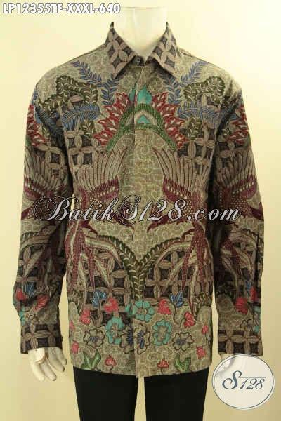 Produk Busana Batik Pria Lengan Panjang Tebaru, Pakaian Batik Mewah Tulis Lasem Full Furing Bahan Halus, Exclusive Untuk Lelaki Gemuk [LP12355TF-XXXL]