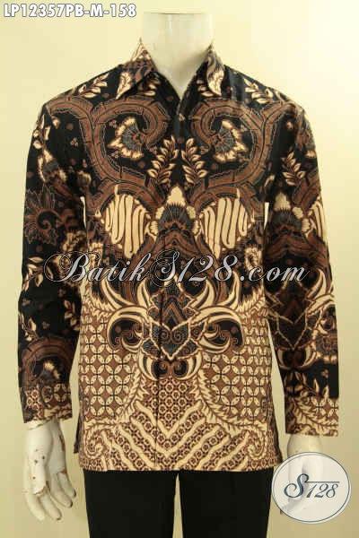 Baju Batik Lengan Panjang Solo Nan Istimewa, Busana Batik Pria Muda Motif Elegan Bikin Penamplan Gagah Berwibawa Hanya 100 Ribuan Saja [LP12357PB-M]