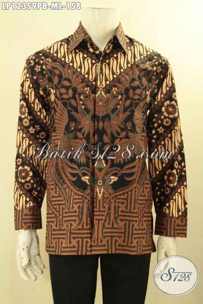 Baju Batik Motif Elegan Klasik Model Lengan Panjang, Busana Batik Solo Asli Jenis Print Cabut, Istimewa Untuk Acara Resmi Maupun Kondangan [LP12359PB-M]