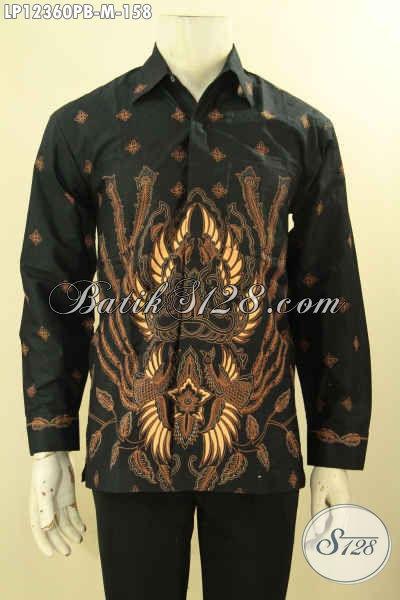 Kemeja Batik Pria Size M, Pakaian Batik Solo Asli Model Lengan Panjang Mewah Bahan Halus Nyaman Di Pakai Aktifitas Harian [LP12360PB-M]