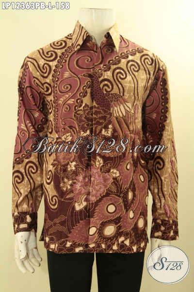 Produk Terbaru Kemeja Batik Pria Lengan Panjang Mewah Modern Dengan Sentuhan Warna Klasik, Baju Batik Printing Cabut Khas Solo Untuk Penampilan Gagah Menawan [LP12363PB-L]