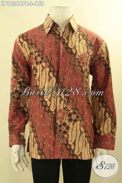 Kemeja Batik Pria Lengan Panjang Motif Parang Klasik, Busana Batik Elegan Bahan Halus Jenis Print Cabut, Istimewa Untuk Kondangan Dan Kerja [LP12364PB-L]