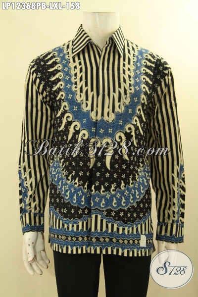Baju Batik Seragam Kerja Pria Model Lengan Panjang Motif Mewah Jenis Print Cabut, Pakaian Batik Murah Kwalitas Mewah [LP12368PB-XL]