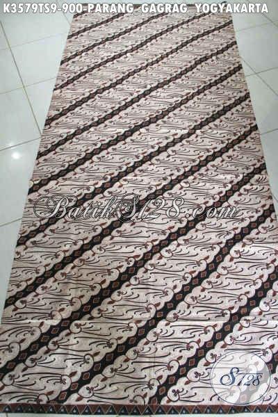 Batik Klasik Mewah Motif Parang Gagrag Yogyakarta Nan Elegan, Kain Batik Tulis Soga Premium Cocok Buat Pernikahan Dan Busana Formal Lainnya [K3579TS-240x105cm]