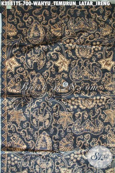 Bahan Kain Batik Tulis Tulis Soga Mewah Untuk Busana Formal Dan Berkelas Motif Wahyu Tumurun Latar Ireng, Cocok Juga Untuk Seserahan Pernikahan [K3581TS-240x105cm]