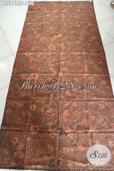 Kain Batik Klasik Bahan Busana Pria Dan Wanita Nan Mewah, Batik Solo Asli Jenis Tulis Soga Premium Cocok Untuk Baju Kerja Dan Acara Resmi [K3584TS-240x105cm]