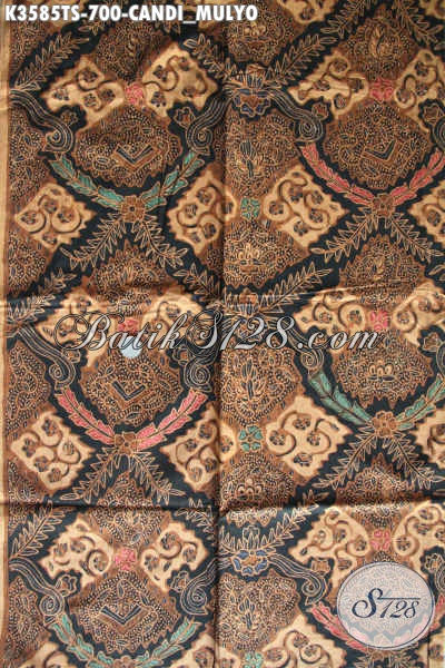 Kain Batik Mewah Khas Jawa Tengah Bahan Busana Resmi Nan Berkelas, Batik Kain Tulis Soga Motif Candi Mulyo Premium Hadir Dengan Harga Terjangkau [K3585TS-240x105cm]