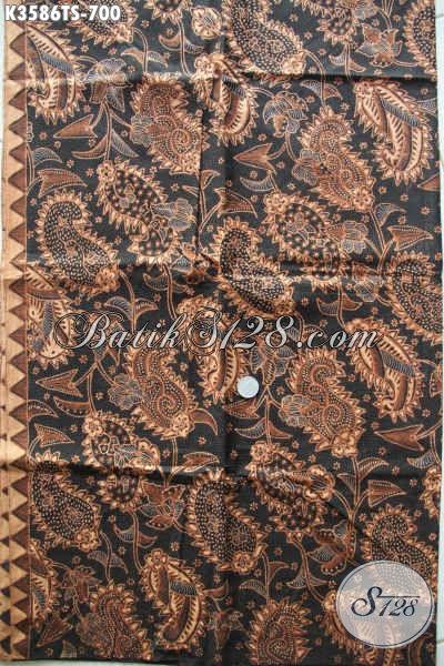 Jual Kain Batik Premium Solo Jawa Tengah, Batik Halus Mewah Jenis Tulis Soga Motif Bagus Kekinian, Istimewa Untuk Busana Kerja Maupun Acara Formal [K3586TS-240x105cm]