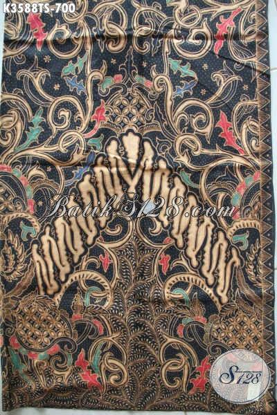 Kain Batik Bahan Busana Istimewa Untuk Wanita Maupun Pria, Batik Solo Asli Jenis Tulis Soga Motif Klasik Hanya 700 Ribuan [K3588TS-240x105cm]