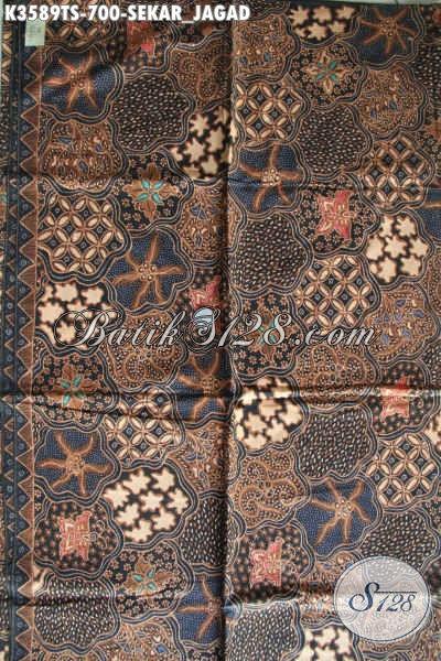 Jual Kain Kain Batik Online Jenis Tulis Soga Motif Sekarjagat, Batik Halus Kwalitas Premium Warna Klasik Bahan Aneka Busana Resmi Elegan Dan Mewah [K3589TS-240x105cm]
