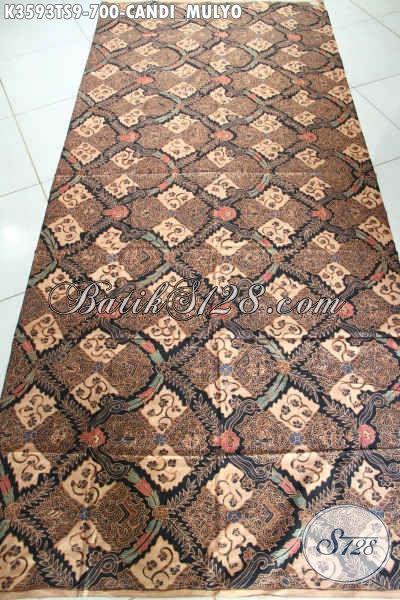 Sedia Kain Batik Klasik Premium, Bahan Kain Batik Tulis Soga Istimewa Motif Candi Mulyo Untuk Busana Resmi Khas Pejabat [K3593TS-240x105cm]