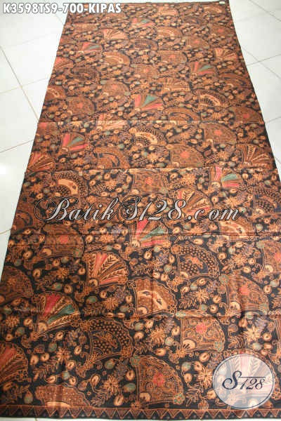 Kain Batik Mewah Jenis Tulis Soga Motif Kipas, Batik Buatan Solo Asli Nan Istimewa Cocok Untuk Busana Formal Pria Maupun Wanita [K3598TS-240x105cm]