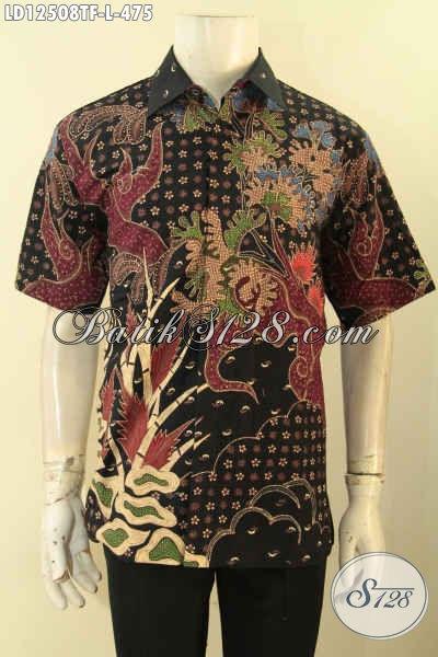 Kemeja Batik Kondangan Model Lengan Pendek, Baju Batik Pria Istimewa Motif Terbaru Jenis Tulis Mewah Dengan Daleman Full Furing [LD12508TF-L]