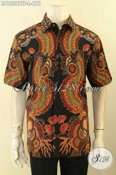 Baju Batik Cowok Elegan Model Lengan Pendek, Kemeja Batik Tulis Halus Motif Terbaru Yang Menunjang Penampilan Lebih Menawan [LD12509TF-L]