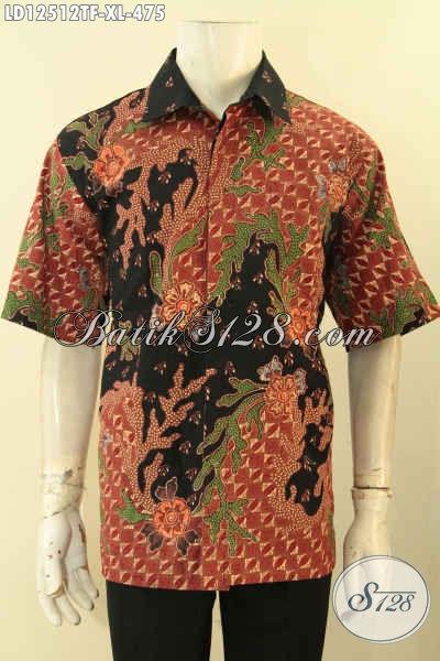 Koleksi Terkini Busana Batik Pria Lengan Pendek Istimewa, Baju Batik Halus Motif Elegan Bahan Adem Daleman Full Furing Yang Nyaman Di Pakai [LD12512TF-XL]