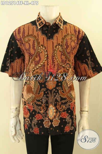 Toko Baju Batik Solo Online Lengkap Koleksinya, Jual Kemeja Lengan Pendek Mewah Full Furing, Baju Batik Tulis Motif Terkini Untuk Pria Dewasa Tampil Istimewa [LD12514TF-XL]