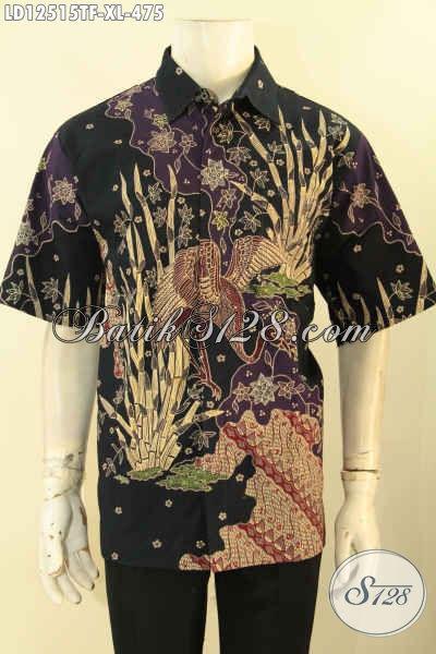 Baju Batik Kerja Pria Kantoran Model Lengan Pendek Motif Terbaru, Kemeja Batik Tulis Asli  Mewah Dengan Lapisan Furing, Tampil Lebih Gagah Dan Berkelas [LD12515TF-XL]