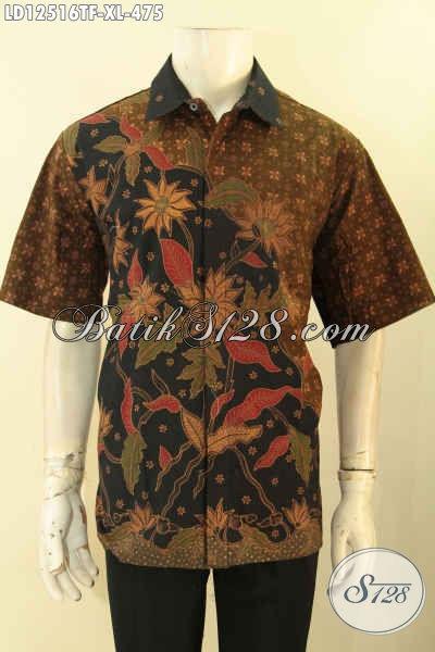 Kemeja Batik Model Lengan Pendek Motif Elegan Proses Tulis, Busana Batik Pria Dewasa Yang Ingin Tampil Gagah Dan Mewah Daleman Full Furing [LD12516TF-XL]