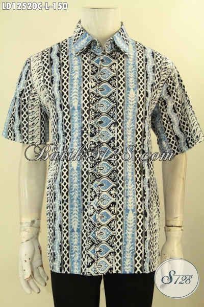 Baju Batik Kerja Kwalitas Bagus Harga Murah, Kemeja Batik Solo Motif Tren Masa Kini Proses Cap, Bikin Penampilan Modis Dan Stylish [LD12520C-L]