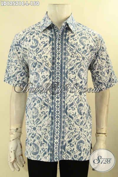 Koleksi Baju Batik Modis Kwalitas Istimewa Asli Buatan Solo, Kemeja Lengan Pendek Batik Jenis Cap Motif Tren Masa Kini, Bisa Untuk Acara Santai Maupun Resmi [LD12521C-L]