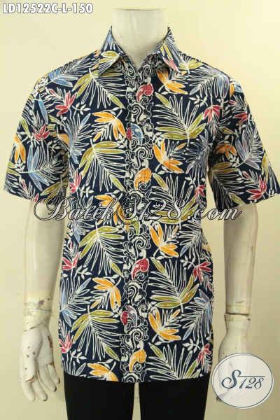 Baju Batik Gaul Pria Model Lengan Pendek, Busana Batik Kemeja Motif Unik Jenis Cap Bahan Halus Yang Nyaman Di Pakai Harian [LD12522C-L]