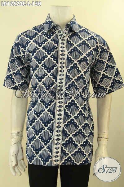 Jual Kemeja Batik Pria Lengan Pendek Motif Keren, Pakaian Batik Solo Kwalitas Halus Desain Tren Masa Kini, Bikin Penampilan Terlihat Tampan Dan Modis [LD12523C-L]
