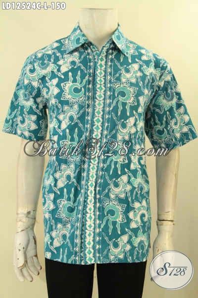 Baju Batik Pria Katun Lengan Pendek Motif Terbaru, Kemeja Batik Buatan Solo Asli Jenis Cap, Pilihan Tepat Tampil Keren Dan Trendy [LD12524C-L]