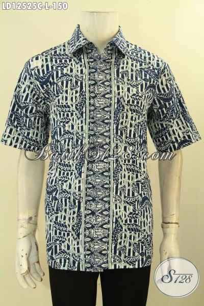 Baju Batik Modis Untuk Pria Muda Maupun Dewasa, Busana Batik Kemeja Model Lengan Pendek Motif Kekinian Jenis Cap, Tampil Gagah Dengan Harga Murah [LD12525C-L]