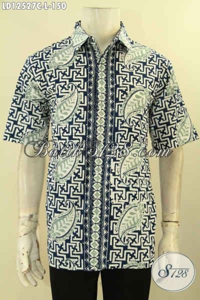 Produk Baju Batik Solo Lengan Pendek Kwalitas Bagus Harga Terjangkau, Kemeja Batik Modern Yang Modis Untuk Acara Resmi Maupun Santai [LD12527C-L]